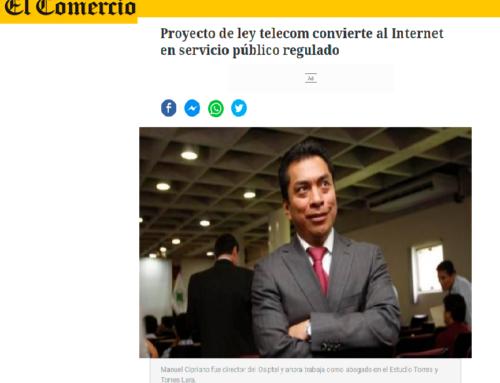 Proyecto de ley telecom convierte al Internet en servicio público regulado