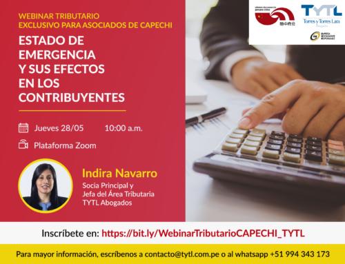 Torres y Torres Lara Abogados y la Cámara de Comercio Peruano China (CAPECHI) organizaron el Webinar tributario